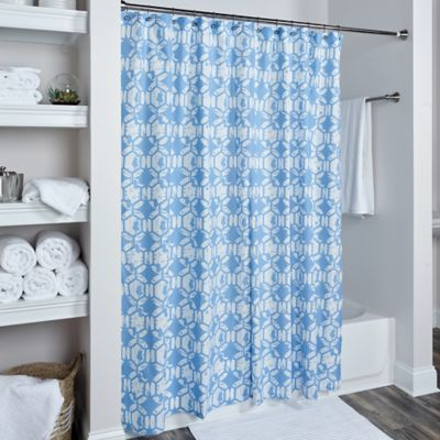 Captivating Rizzy Home Geometric Shower Curtain In Sky Blue