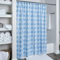 Rizzy Home Geometric Shower Curtain in Sky Blue