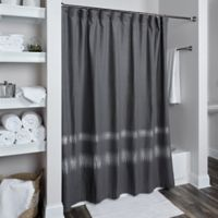 Rizzy Home Zig Zag Shower Curtain in Charcoal/Silver