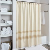 Rizzy Home Zig Zag Shower Curtain in Cream/Gold