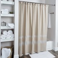 Rizzy Home Zig Zag Shower Curtain in Taupe/Silver