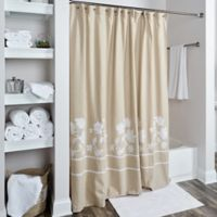 Rizzy Home Floral Shower Curtain in Beige/White