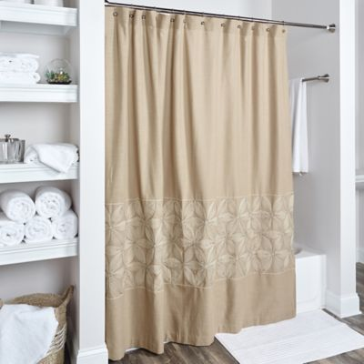 Rizzy Home Floral Shower Curtain In Beige