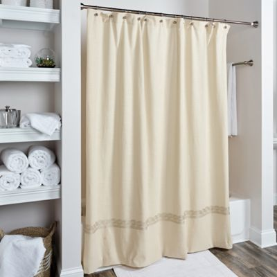 Rizzy Home Cable Embroidered Shower Curtain In Beige Gold