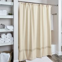Rizzy Home Cable Embroidered Shower Curtain in Beige/Gold