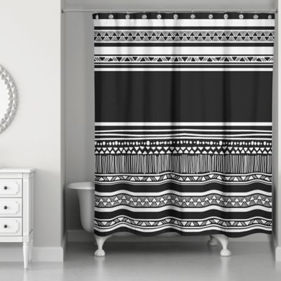 Simple Layer Boho Tribal Shower Curtain In Black White