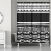 Simple Layer Boho Tribal Shower Curtain in Black/White