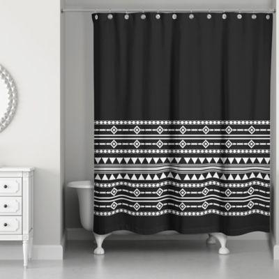 Black shower curtains White Boho Tribal Shower Curtain In Blackwhite Bed Bath Beyond Buy Black And White Fabric Shower Curtains Bed Bath Beyond