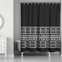 Boho Tribal Shower Curtain in Black/White