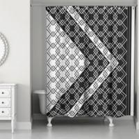 Lattice Asymmetrical Boho Tribal Shower Curtain in Black/White