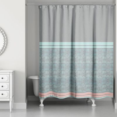 blue and gray shower curtain. Pastel Boho Tribal Shower Curtain Buy Blue and Grey Curtains from Bed Bath  Beyond
