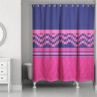 Color Block Geo Boho Tribal Shower Curtain In Pink Purple