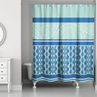 Boho Tribal Shower Curtain in Mint/Blue