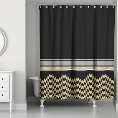 Attrayant Chic Weighted Shower Curtain In Black/Gold