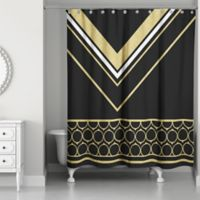Rings Chic Shower Curtain in Black/Gold