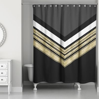 Chic Chevron Arrow Shower Curtain In Black Gold