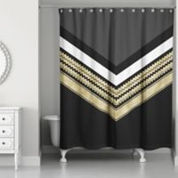 Chic Chevron Arrow Shower Curtain in Black/Gold