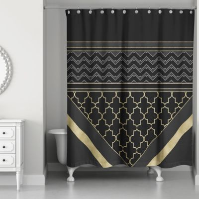 Quatrefoil Chic Shower Curtain In Black/Gold