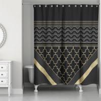 Quatrefoil Chic Shower Curtain in Black/Gold