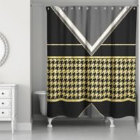 Houndstooth Shower Curtain in Black/Gold