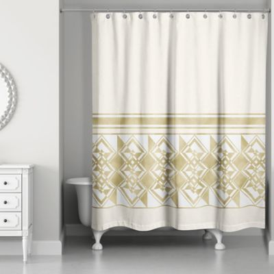 Exceptionnel Decorative Weighted Shower Curtain In Ivory/Gold