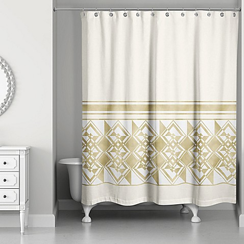 decorative weighted shower curtain in ivory gold bed. Black Bedroom Furniture Sets. Home Design Ideas