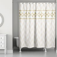 Decorative Stripe Shower Curtain in Gold/Creme