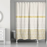 Rings Weighted Shower Curtain In Ivory Gold