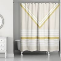 Chevron Layer Shower Curtain In Ivory Gold