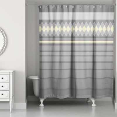 diamonds in a line shower curtain in greyyellow