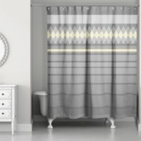 Diamonds in a Line Shower Curtain in Grey/Yellow