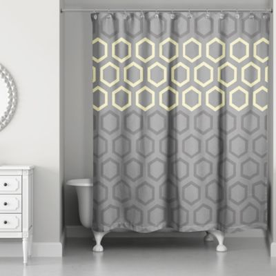Hexagonal Shower Curtain In Yellow Grey