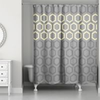 Hexagonal Shower Curtain in Yellow/Grey