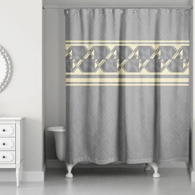 Geometric Inversed Shower Curtain In Yellow Grey