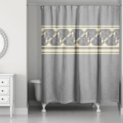 Beau Geometric Inversed Shower Curtain In Yellow/Grey