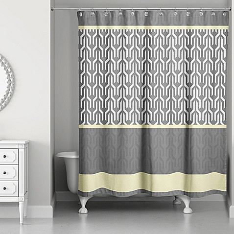 Trident Pattern Shower Curtain In Yellow Grey Bed Bath