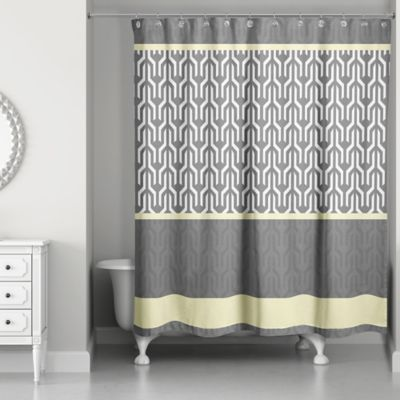 Beau Trident Pattern Shower Curtain In Yellow/Grey