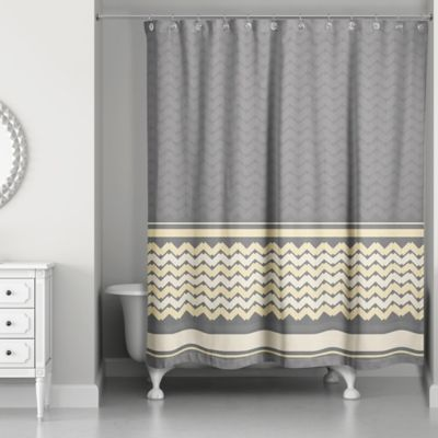 Mixed Chevron Shower Curtain In Mellow Yellow Grey
