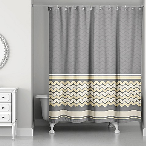 mixed chevron shower curtain in mellow yellow grey bed bath beyond. Black Bedroom Furniture Sets. Home Design Ideas