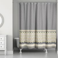 Mixed Chevron Shower Curtain in Mellow Yellow/Grey