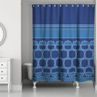 Large Quatrefoil Coins Shower Curtain in Navy