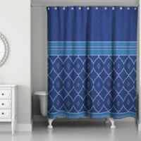 Quatrefoil Tone Shower Curtain in Blue