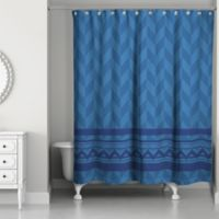 Alternating Pattern with Chevron Shower Curtain in Navy