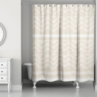 Funky Chevron Shower Curtain In Cream Ivory