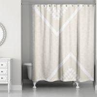 Decorative Quatrefoil Shower Curtain In Ivory Cream