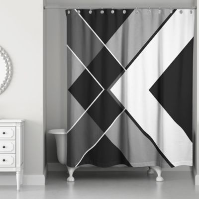 Asymmetrical Angles Shower Curtain In Black White