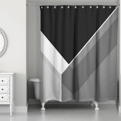 Beau Asymmetrical Color Block Shower Curtain In Black/Grey