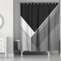 Asymmetrical Color Block Shower Curtain In Black Grey