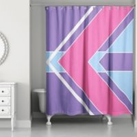 Bold Color Block Shower Curtain In Pink Purple