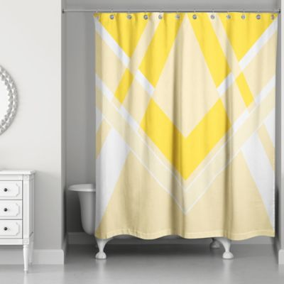 Awesome Inversed Bold Triangle Shower Curtain In Yellow/White